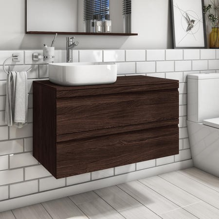 900mm Wall Hung 2 Drawer Vanity Unit with Dover 500mm Basin Dark Oak - Boston
