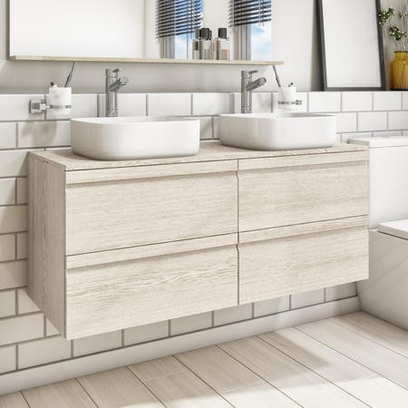 1200mm Wall Hung Vanity Unit with Double Dover 385mm Basins 4 Drawer Light Oak - Boston