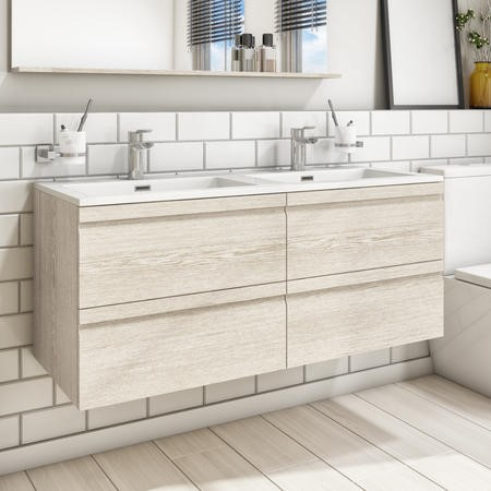 1200mm Wall Hung Vanity Basin Unit - Sandy Oak Unit - Boston Range