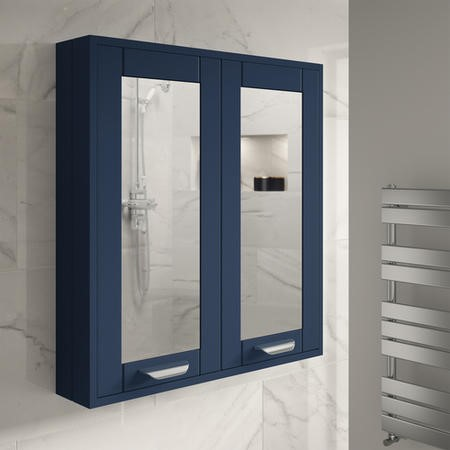 600mm Wall Hung Mirrored Cabinet - Indigo Blue Unit Modern Handles - Nottingham Range