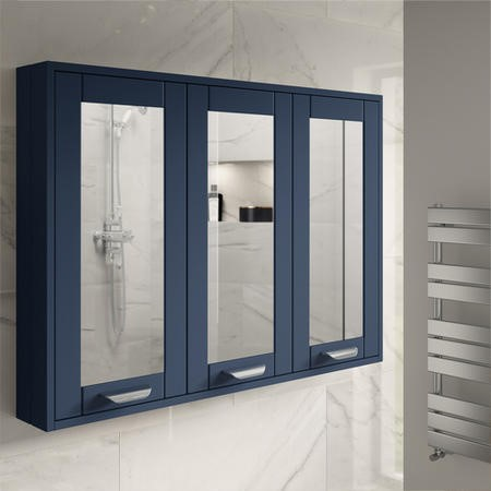 900mm Wall Hung Mirrored Cabinet - Indigo Blue 3 Door Traditional Handle - Nottingham Range