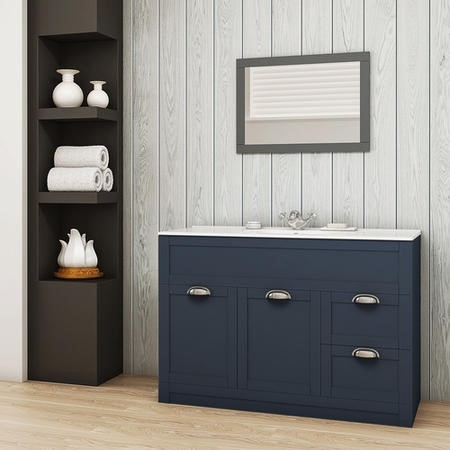 1000mm Vanity Basin Unit - Indigo Blue Modern Handle - Nottingham Range