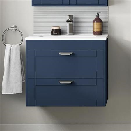 Nottingham Indigo Blue 600 Two Drawer Wall Hung Vanity