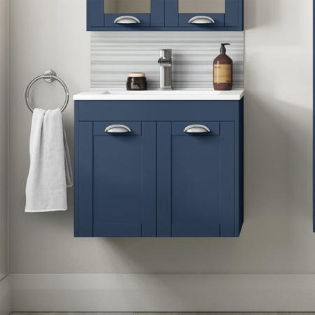 600mm Wall Hung Vanity Basin Unit - Indigo Blue Double Door Traditional Handle - Nottingham Range