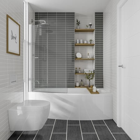 Brooklyn Spacesaver Left Hand Bath with Front Panel and Shower Screen - 1690 x 690mm