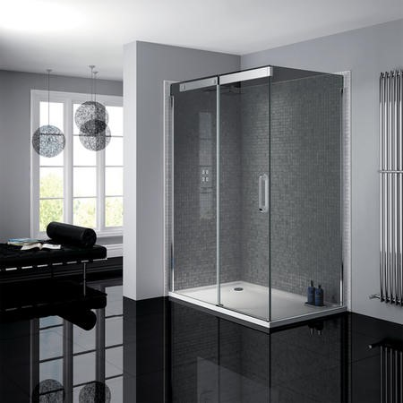 900 x 1200mm Smoked Glass Sliding Door Left Hand Shower Enclosure - Neptune