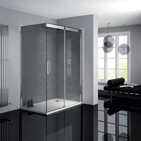 800 x 1200mm Smoked Glass Sliding Door Right Hand Shower Enclosure - Neptune