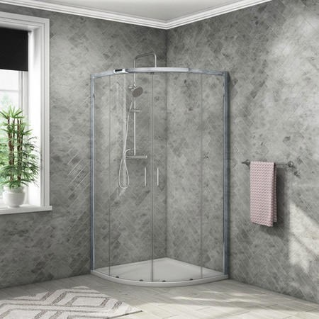 Quadrant Shower Enclosure with Tray Waste & Shower 800mm -  4mm Glass - Vega Range