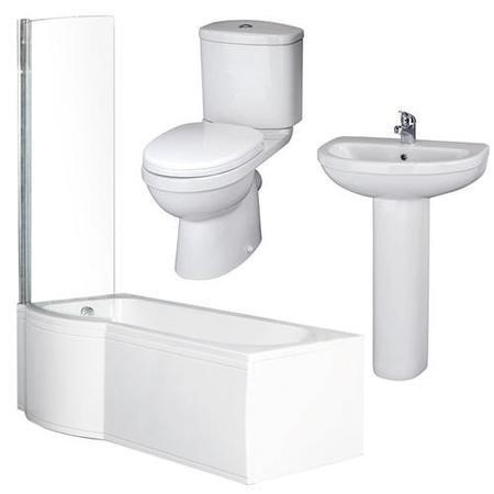 P Shaped 1675 Right Hand Shower Bath, Front Panel, Screen & Albury Suite