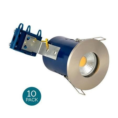 Fixed Fire Rated IP65 Satin Chrome Downlight-Cool Bulb Colour-10 Pack