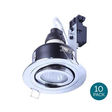 Tiltable Fire Rated IP 65 Downlight Chrome Single No Bulb-Cool Bulb Colour-10 Pack