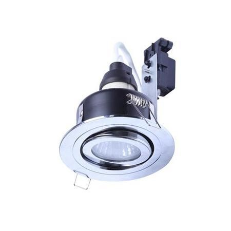 Tiltable Fire Rated IP 65 Downlight Chrome Single No Bulb-Cool Bulb Colour-Single
