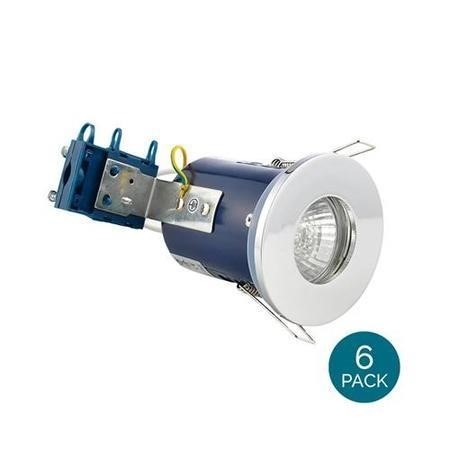 Fixed Fire Rated IP65 Chrome Downlight Warm White / Cool White Bulbs-Warm Bulb Colour-6 Pack
