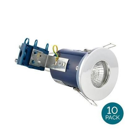 Fixed Fire Rated IP65 Chrome Downlight Warm White / Cool White Bulbs-Warm Bulb Colour-10 Pack