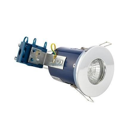 Fixed Fire Rated IP65 Chrome Downlight Warm White / Cool White Bulbs-Warm Bulb Colour-Single