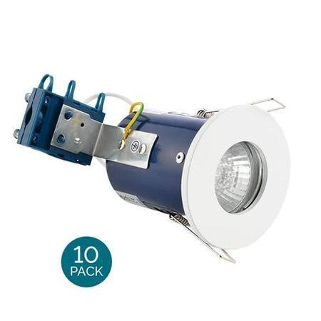 Fixed Fire Rated IP65 White Single Downlight-Cool Bulb Colour-10 Pack