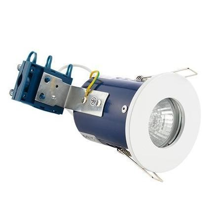 Fixed Fire Rated IP65 White Single Downlight-Warm Bulb Colour-Single