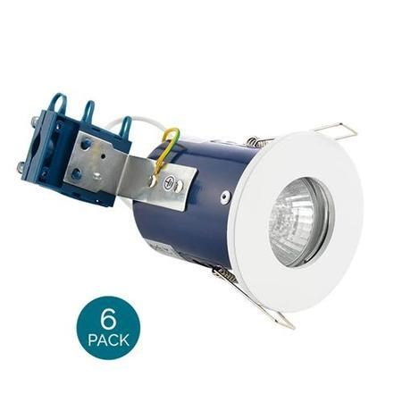 Fixed Fire Rated IP65 White Single Downlight-Cool Bulb Colour-6 Pack