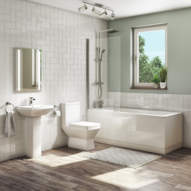 1700mm Straight Bath Suite with Panel Toilet & Basin - Tabor