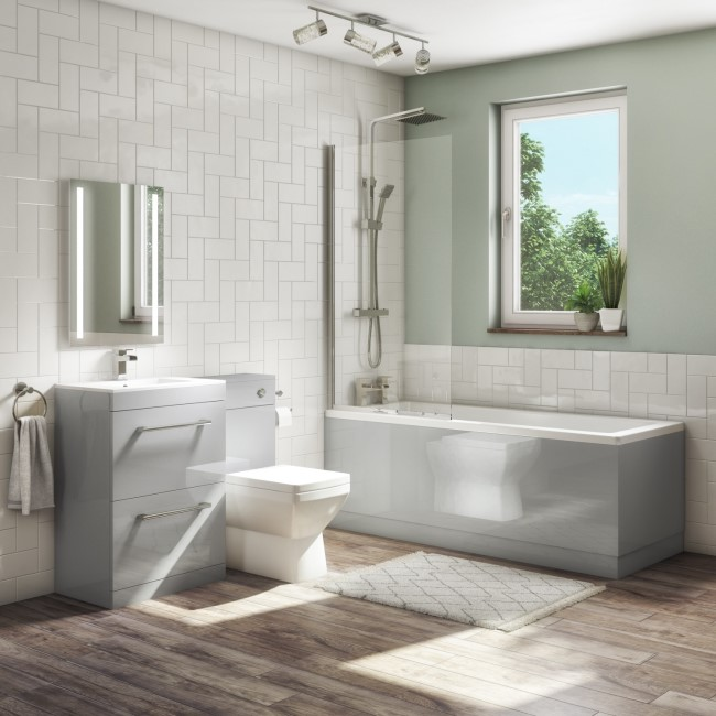 1700mm Straight Bath Suite with Toilet & Basin Vanity Combination Unit  Front Panel - Grey - Ashford