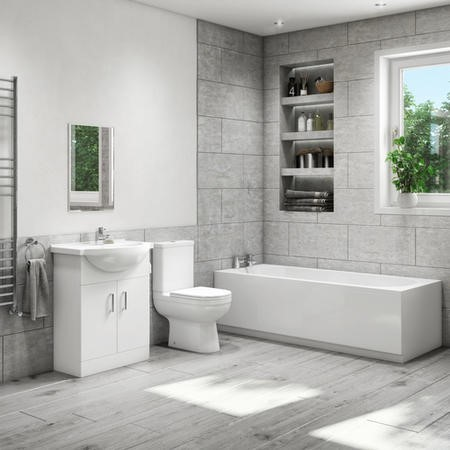 1700mm Straight Bath Suite with 550mm Vanity Unit & Close Coupled Toilet - Classic
