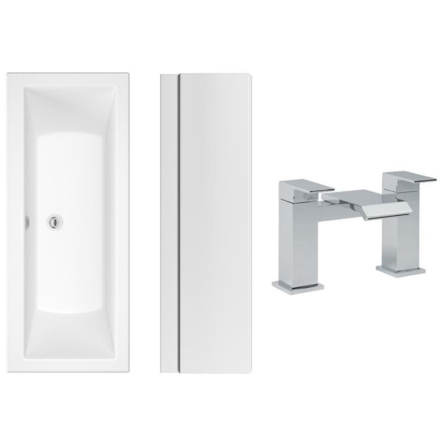 1700 x 700 Chiltern Double Ended Square Bath with Front Panel and Aqua Bath Filler