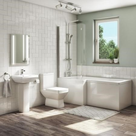 1700mm L Shaped Shower Bath Suite with Toilet Basin  Panel & Screen - Left Hand - Tabor
