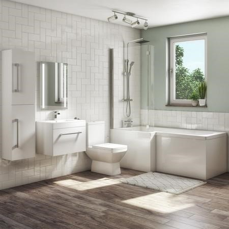 1700mm L Shaped Bath Suite with 600mm Wall Hung  Vanity Unit with Basin & Toilet - Left Hand- Ashford