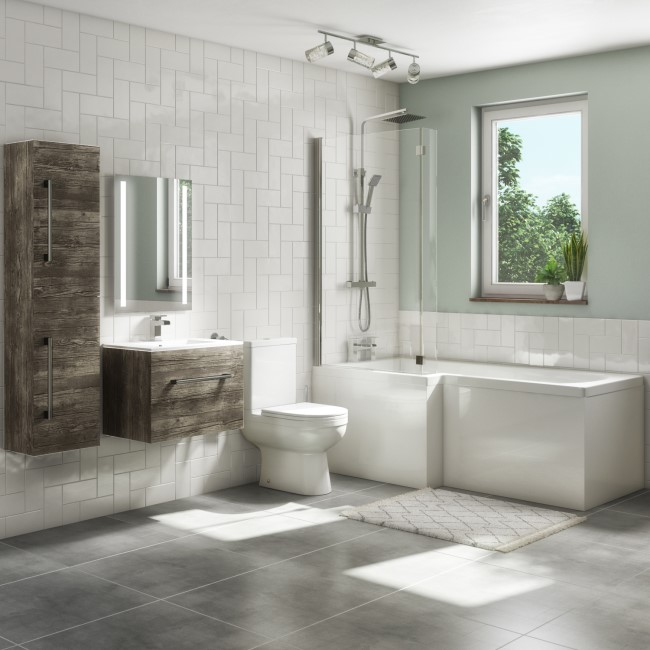 1700mm L Shaped Bath Suite with 600mm Wall Hung Vanity Unit and Basin & Toilet - Left Hand - Ashford