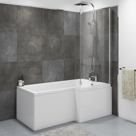 Lomax Right Hand L Shape Bath with Front Panel and Screen - 1700 x 850mm
