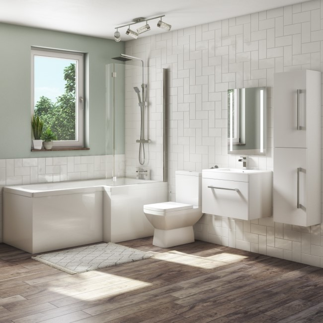 1700mm L Shaped Bath Suite with 600mm Wall Hung  Vanity Unit with Basin & Toilet - Right Hand - Ashford