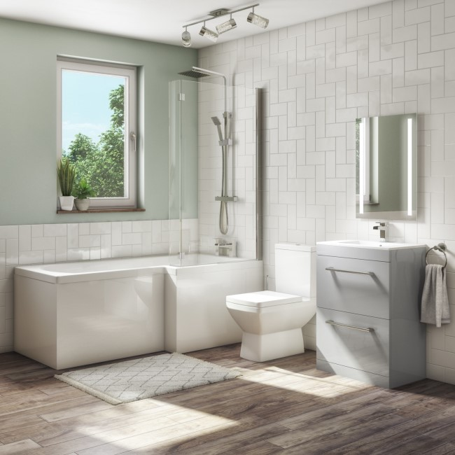 1700mm L Shaped Bath Suite - 600mm Vanity Unit with Basin & Toilet - Grey - Right  Hand - Ashford
