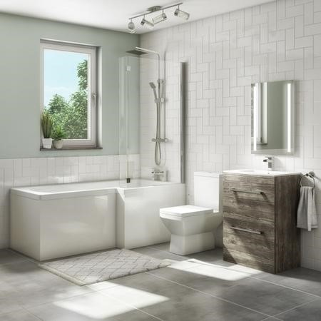 1700mm L Shaped Bath Suite with 600mm Vanity Unit with Basin & Toilet - Grey Wood - Right  Hand - Ashford