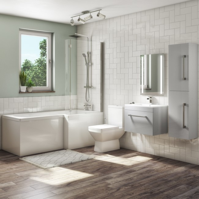 1700mm L Shaped Bath Suite with 600mm Wall Hung Vanity Unit with Basin & Toilet Grey - Right Hand - Ashford