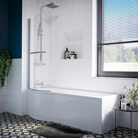 Portland P Shaped Shower Bath Left Hand with Front Panel & Bath Screen - 1700 x 850mm