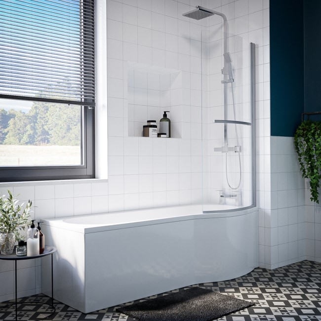 Portland Right Hand P Shape Shower Bath with Bath Screen and Front Panel - 1500 x 850mm