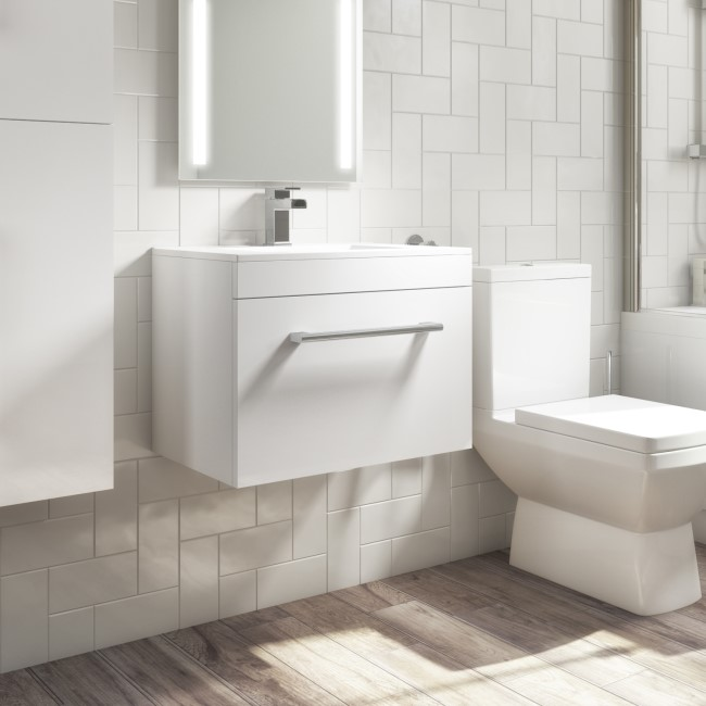 Wall Hung Vanity Unit with Basin 600mm - Single Drawer - White - Ashford