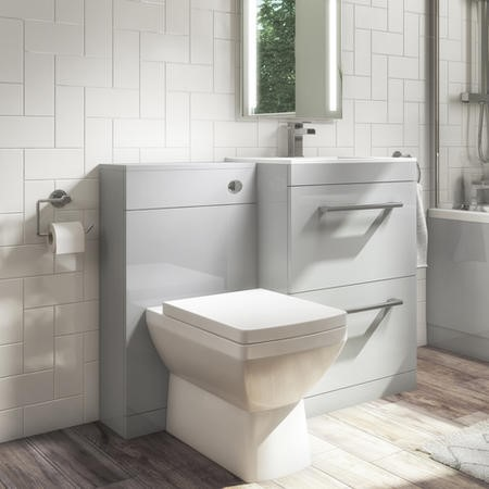 Universal Toilet and Basin Combination Unit - Grey - Ashford