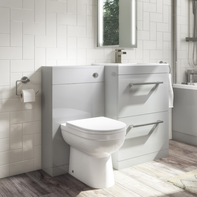 Universal Toilet and Basin Combination Unit - Grey - Ashford and Addison