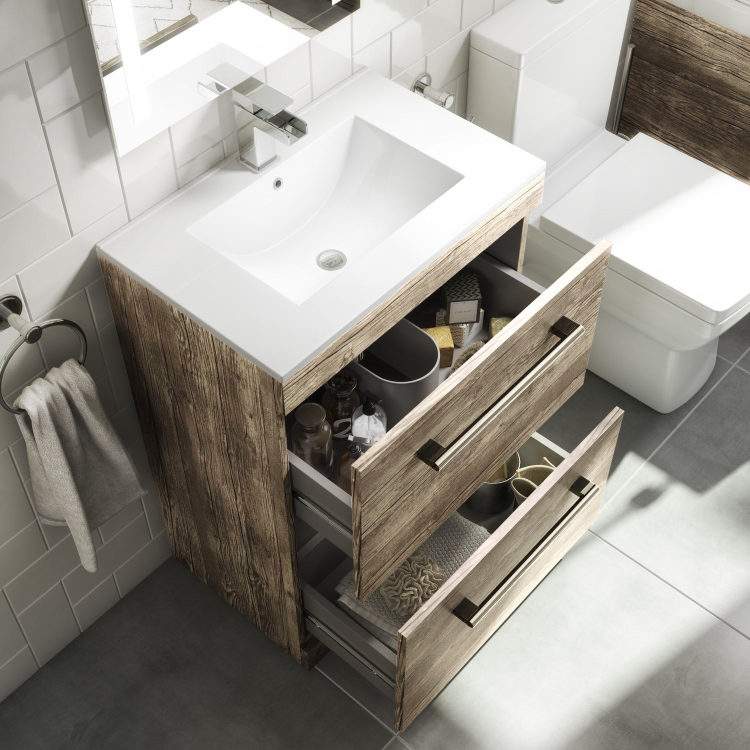 600mm Vanity Unit With Basin 2 Drawers Grey Wood Effect Ashford Better Bathrooms