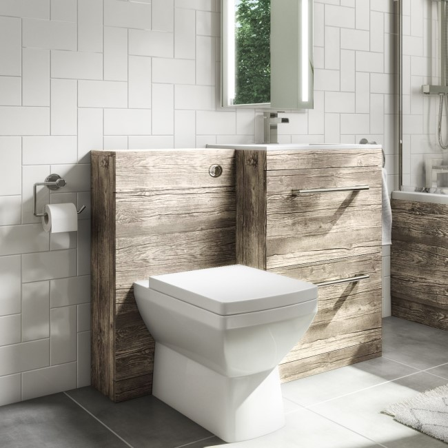 Universal Toilet and Basin Combination Unit -Grey Textured Wood- Ashford