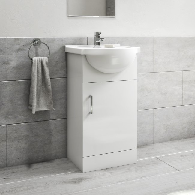 450mm White Freestanding Vanity Unit with Basin - Classic