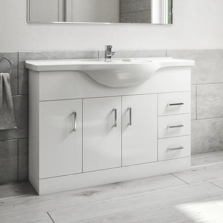 1200mm Floorstanding Drawer & Door Vanity Unit with Basin White - Classic