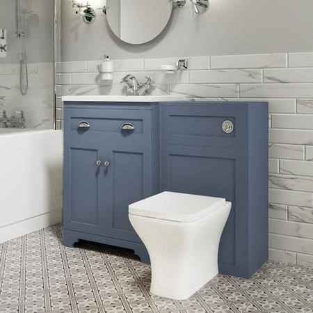 1100mm Toilet and Basin Combination Unit - Modern Toilet - Blue - Baxenden