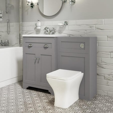 1100mm Toilet and Basin Combination Unit - Modern toilet - Grey - Baxenden