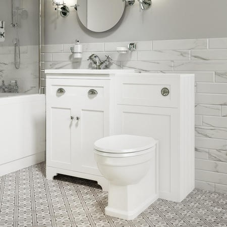 Toilet and Basin Combination Unit - Traditional Toilet - White - Baxenden