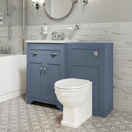 Toilet and Basin Combination Unit - Traditional Toilet - Blue - Baxenden