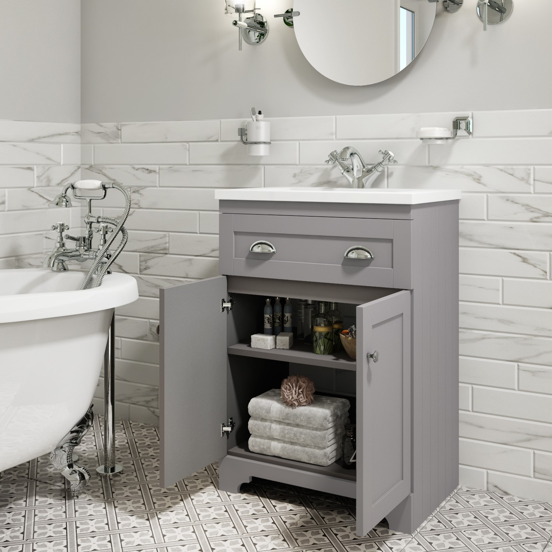 600mm Grey Freestanding Vanity Unit, Bathroom Vanity Freestanding Sink