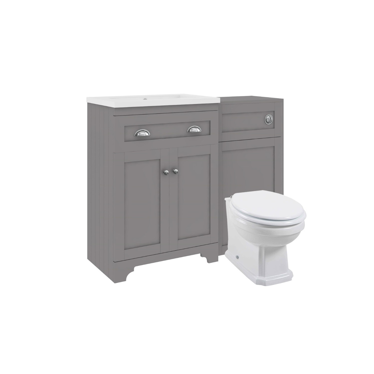 Toilet And Basin Combination Unit Traditional Toilet Grey