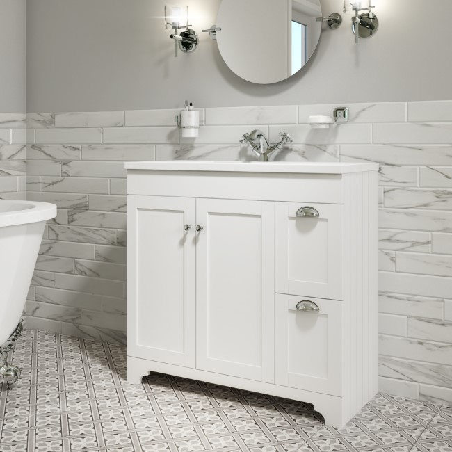 900mm White Freestanding Vanity Unit with Basin - Baxenden